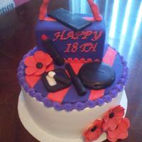Make Up & Purse Cake Purse made from rice krispies, and all make-up is made from chocolate molds. TFL!