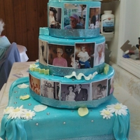 Mom's 80Th Birthday Cake this a cake for my mom's 80th bday i thought it woudl be cool to do a pictorial of her life the 3 round teirs are styrofoam and the...