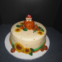 "Lil Punkin Baby Shower Cake 10"" round with fondant pumpkins and gumpaste Sunflowers. RKT Large Pumpkin with baby inside. TFL"