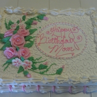 Pink Floral   Sheet cake frosted with Pastry Pride and decorated with buttercream flowers