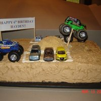Monster Truck Cake Monster truck cake-white and chocolate cake with buttercream. The birthday boy was excited when he found out he could keep the cars and...