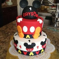 """mickey Birthday Party"" *I made this cake for a friends grandson's birthday. Mickey is his favorite. choc sour cream cake with MMF. He loved it..."
