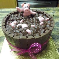 Birthday Pig Sty I made this cake for a friend who collects Piggy's. Choc cake frosted in choc fudge BC frosting with kit kat bars around the side to...
