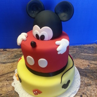 Happy Birthday.... I made this cake for a friends baby's first birthday, she said she was having a Mickey themed party so this is what I came up with.....