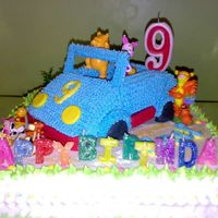 Pooh And Friends On Car This cake made for Nathanael on his 9th birthday