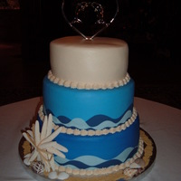 Ocean Wedding Cake Cake is iced in buttercream and the waves are made from Wilton Sugar Sheets.