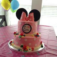 Eva's Three Already! Happy Birthday to Eva!A pink polka dotted cake with lots of color flowers, Minnie ears, and a big pink bow! It was a fun cake to make!...