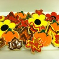 Fall Cookies Festive fall themed cookies! Sugar cookies with pumpkin spice royal icing.