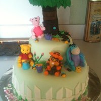 Winnie The Pooh winnie the pooh birthday cake. Everything is edible. Characters made out of fondant.