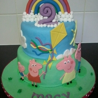 Peppa Pig Fondant covered peppa pig cake