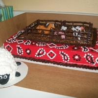 Cowboy, Farm 1St Birthday Cake red bandana print with farm fencing and animals. Dirt is crushed chocolate chip cookies. The little sheep smash cake gave me fits with the...
