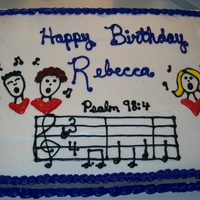 Birthday Cake cake made for our childrens church leader, who is also a member of a choir.