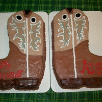 Cowboy Boots One chocolate boot, one french vanilla boot. Was sent a pic of the birthday boys boots to copy.