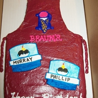 Sons Birthday Cake He and a coworker have birthdays close together, they work at Braums, so I made the apron cake and my son made the name tags from...