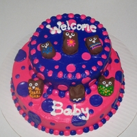Owl Cake Balls, Baby Shower Cake baby shower cake , they gave me a pic of the bedding set to work from.