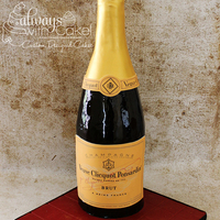 "Champagne Bottle I did this cake for a couple of friends. Cake stood over 24"" tall. Cake is carved and covered in MMF. TFL"