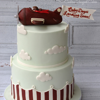 Vintage Airplane Baby Shower I made this cake to match the recipients Shower invitation. Cake is covered in MMF and vintage Airplane is made out of rice cereal treats....