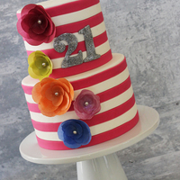 Pink & White Striped 21St Birthday Such a fun cake. All wafer paper flowers, to add a pop of color. TFL