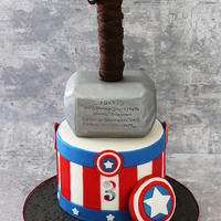 Captain America & Thor Captain America and Thor cake for a cute little 3 year old. Bottom tier and hammer is made out of cake. Hammer handle is made out of rice...