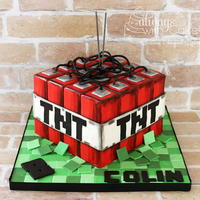 Minecraft Tnt Cake My neighbor's son is obsessed with Minecraft, so of course he had to have a Minecraft party. This cake was fairly simple and covered...