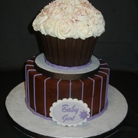 Baby Girl Shower Cake Chocolate fudge cake, candy shell on cupcake. Funny thing, I made the plaque and it said baby boy, when I brought the cake over the night...