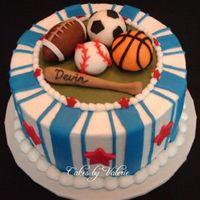 All Sports This cake is iced in buttercream with MMF accents. The sports balls are all made from MMF.