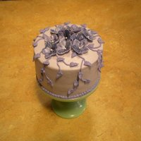 Violets   Chocolate fudge cake with cheesecake mousse filling, buttercream icing and gumpaste violets.