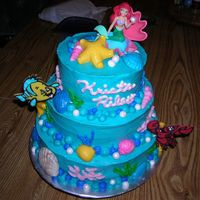 Disney Ariel Little Mermaid I made this for a little girl's 2nd Birthday. Covered in Buttercream and everything else is edible except Ariel. Fondant and Chocolate...