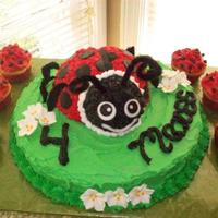 Lady Bug Cake Took some ideas from several posted cakes here. Thanks!! 1/2 of the Sports ball pan for the body and the mini ball pan for the head. Butter...