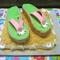 Flip Flop Theme Cake She wanted a flip flop so i traced one of my own and went from there....this is what i got! She loved it sooo much YAY!!!