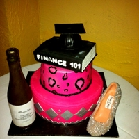 Alex's Graduation Cake All edible vanilla cake with nutella filling. chocolate shoe and champagne bottle.