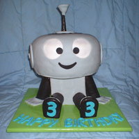 "William's Robot Based on ""Rob the Robot"", this is a cake I did for one of friend's little boys who was turning 3. Head and body are cake,..."