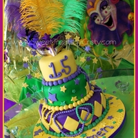 Mardi Gras Mardi Gras cake for a quinces. (15th Birthday)