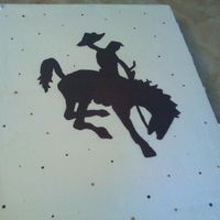 "Cowboy And Bucking Horse Half Sheet Cake This is a half sheet cake. Covered in BC and hand painted. This was my entry for the county fair in the ""other cakes division""...."