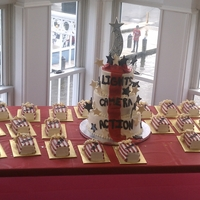 Red Carpet Birthday mini popcorn box cakes, and a 3 teir red carpet cake,
