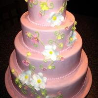 Pink Fondant Wedding Cake With Gumpaste Flowers Pink Fondant Wedding Cake with gumpaste flowers.