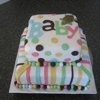 Baby Shower Cake With Mini Fondant Turtle Baby Shower cake with mini fondant turtle