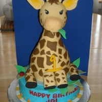 "Giraffe   Giraffe body was made of two 6"" and one 4"" round cakes, carved sides, the head made of RKT, all fondant cover and deco."