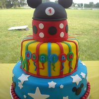 Mickey Mouse Mickey Mouse 4-tier cake, all fondant cover and deco.