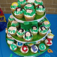 Preschool Graduation Tower Cupcake tower for Preschool grad. Funfetti cupcakes with sprinkle (how kids love sprinkles!) and fondant decorations. Each child has his/...