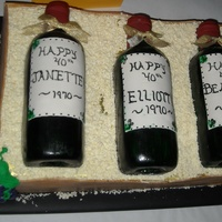 "Wine Crate  Triple 40th birthday party cake. Bottles were RKTs covered in fondant, painted and coated with glycerin to shine. ""Straw"" was..."