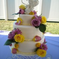 Wedding Cake Fondant cover, real flowers.