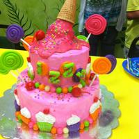 Ice Cream And Candy Cake Chocolate cake with Vanilla BC. Fondant decorations