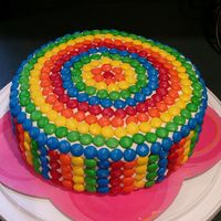 M&m Covered Cake   WASC cake with Vanilla BC...covered in M&Ms