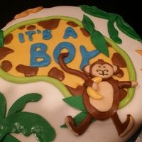 Safari Baby Shower Cake   Chocolate Cake with Vanilla BC...fondant characters