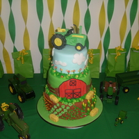 Hunter's Mow-Mow Cake This is a cake I did for my son's second birthday. The tractor (mow-mow) is made of gumpaste. The layers are 10'', 8'&#...