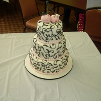 Cherries Shower Cake. 10'', 8'', and 6'' rounds covered in fondant with royal piping. Cherries on top.
