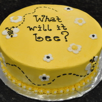What Will It Bee? Blue cake inside. Vanilla cake with buttercream frosting