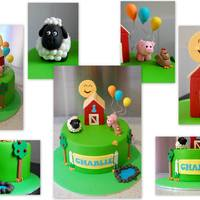 "Farm Yard 1St Birthday Chocolate cake, mint cream cheese frosting, ganached, covered in fondant, gumpaste animals, balloons, barn - all embellishments, 8""..."