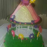 Dora The Explorer....princess In The Garden I made this for my niece's 2nd birthday party. Dora's dress and the grass section below her are all cake and the lollipops were...